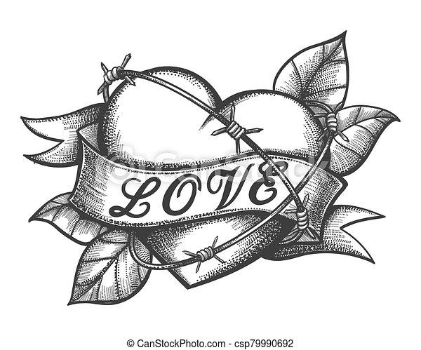 Lettrage Tatouage Ruban Amour Gravure Coeur Vecteur Lettrage Main A Fait Barbele Ruban Amour Illustration Coeur Canstock