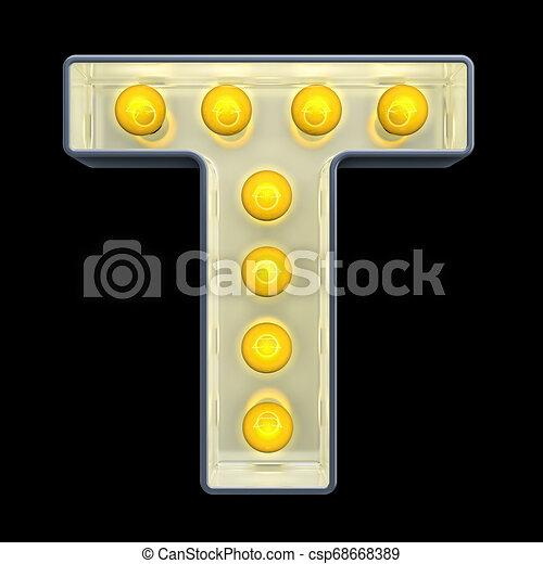 lettre, lumière, incandescent, rendre, t, retro, font., ampoule, 3d - csp68668389