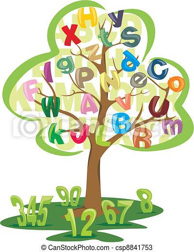 lettres, arbre, nombres - csp8841753