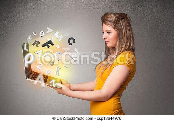 lettres, coloré, résumé, jeune, cahier, hoolding, dame - csp13644976