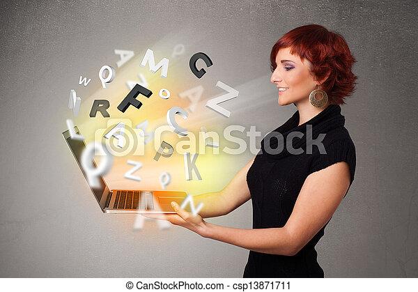lettres, coloré, résumé, jeune, cahier, hoolding, dame - csp13871711