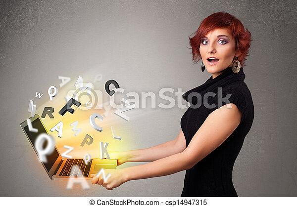 lettres, coloré, résumé, jeune, cahier, hoolding, dame - csp14947315
