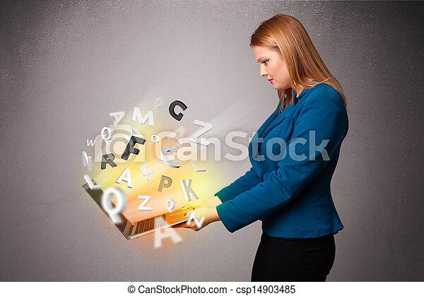 lettres, coloré, résumé, jeune, cahier, hoolding, dame - csp14903485