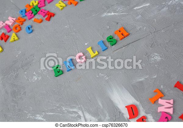 lettres, inscription, anglaise, coloré, bois - csp76326670