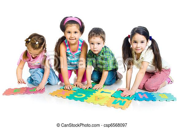 lettres, jouer, enfants - csp6568097