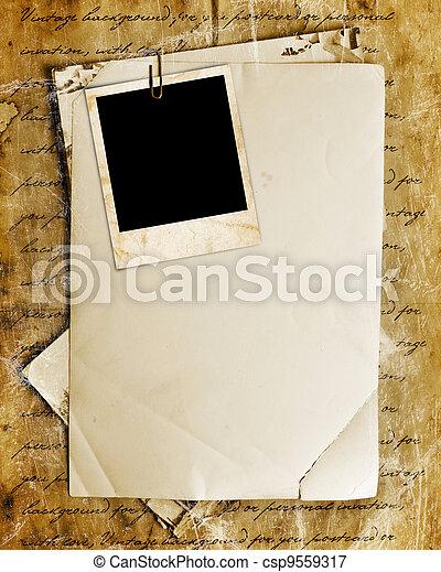 lettres, papier, vendange, photos, fond, vieux - csp9559317