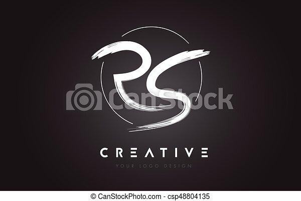 Lettres Rs Concept Artistique Lettre Design Logo Manuscrit Brosse