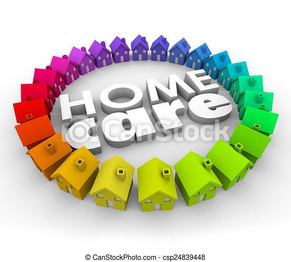 lettres, service, thérapie, mots, maison, hospice, santé, 3d, soin - csp24839448