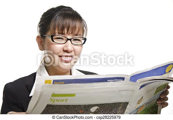 lettura, donna, giornale, affari - csp28225979