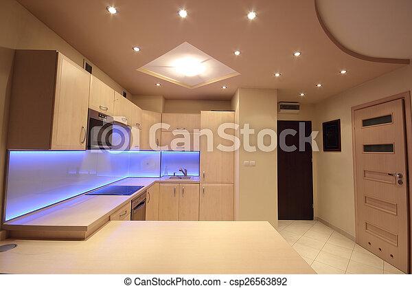 leuchtdiode, lila, modern, beleuchtung, luxus, kueche