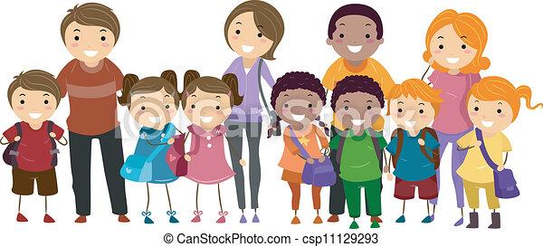 leur, gosses école, parents - csp11129293