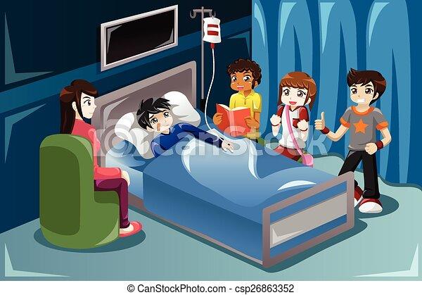 leur, hôpital, gosses, ami, visiter - csp26863352