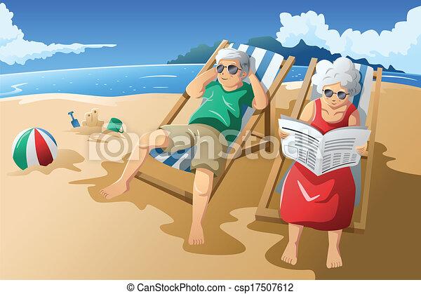 leur, personne agee, apprécier, couple, retraite - csp17507612