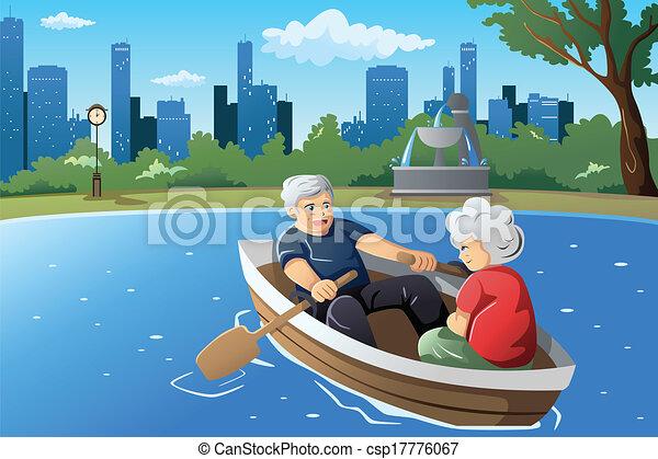 leur, personne agee, apprécier, couple, retraite - csp17776067