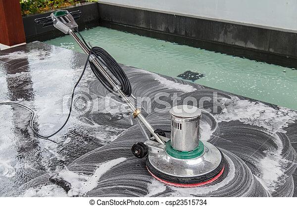 Leute Boden Maschine Schwarz Putzen Granit Chemic