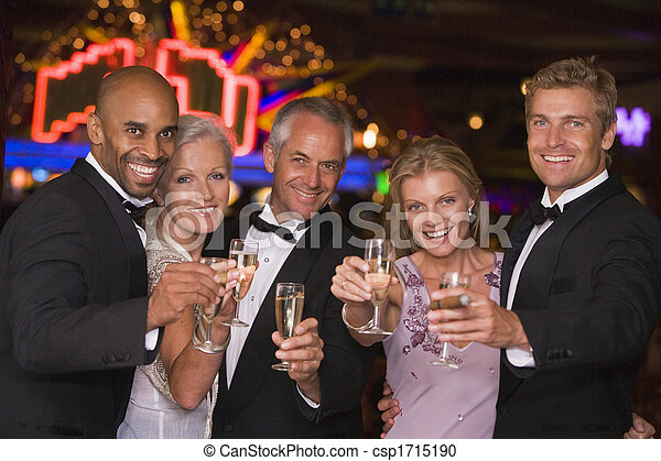 leute, kasino, fünf, focus), (selective, lächeln, champagner - csp1715190