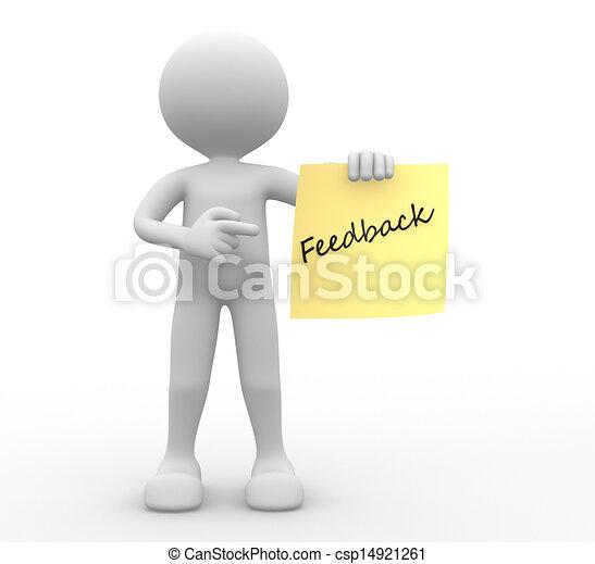 leute, rückkopplung, person, paper., gelber , -man, 3d - csp14921261