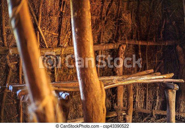 leute, stammes-, bett, hütte, traditionelle , kenianer - csp43390522