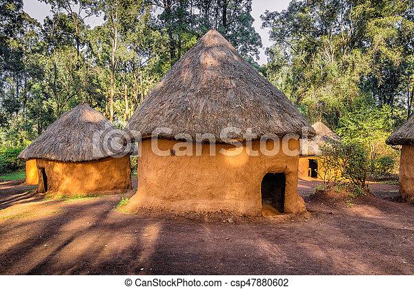 leute, stammes-, hütte, traditionelle , kenia, kenianer, nairobi - csp47880602