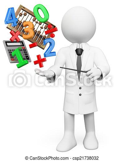 leute., taschenrechner, weißes, rechenbrett, lehrer, mathe, 3d - csp21738032