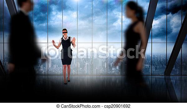 leute, zusammengesetzt, gehen, verwischen, geschaeftswelt, bild - csp20901692