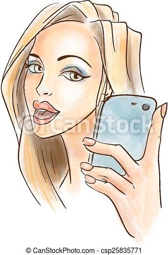 levando, mulher, selfie, jovem - csp25835771