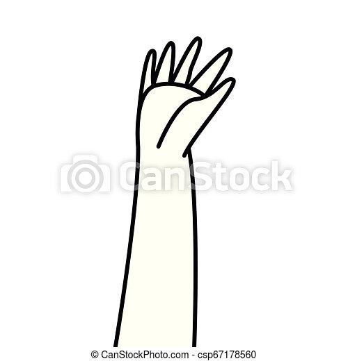 Mano levantada mostrando dedos - csp67178560