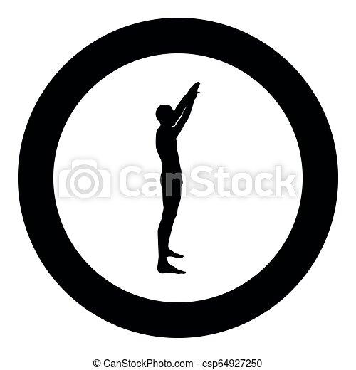 El hombre con brazos levantó a Sportsman levantando las manos de la vista lateral de icono ilustración de color negro en círculo - csp64927250