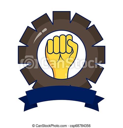 Equipo de manos levantado - csp68784356