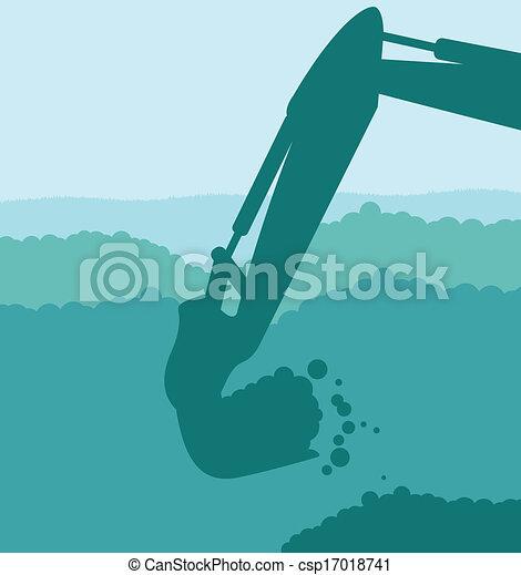 levantado, escavador, balde, local, carregador, vetorial, construção - csp17018741