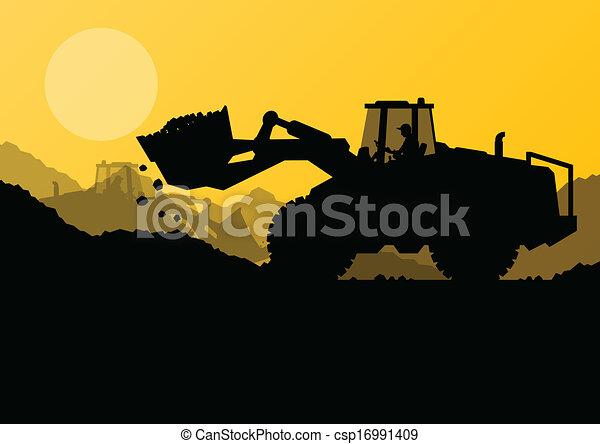 Cargador Excavator en construcción con vector de cubo elevado - csp16991409