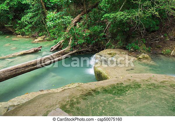 Level 1 of Erawan Waterfall in Kanchanaburi, Thailand - csp50075160