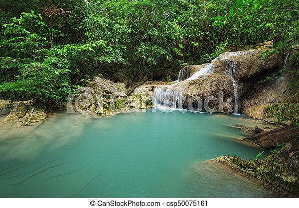 Level 1 of Erawan Waterfall in Kanchanaburi, Thailand - csp50075161