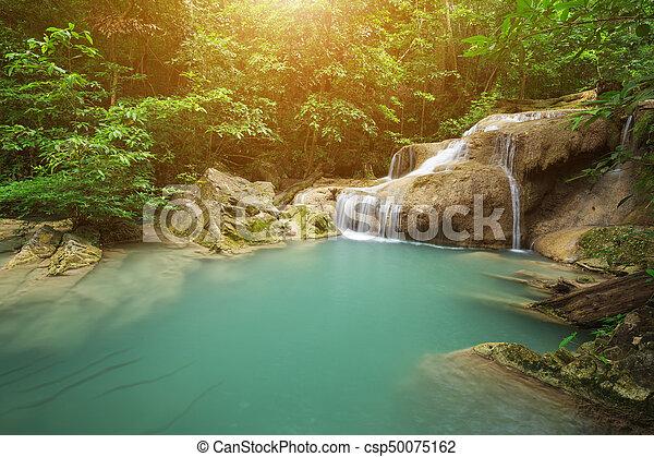 Level 1 of Erawan Waterfall in Kanchanaburi, Thailand - csp50075162