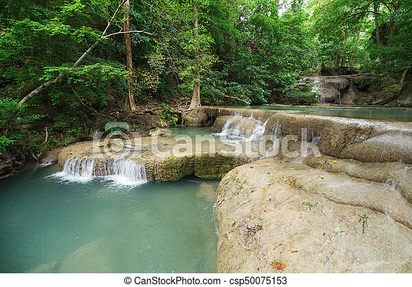 Level 1 of Erawan Waterfall in Kanchanaburi, Thailand - csp50075153
