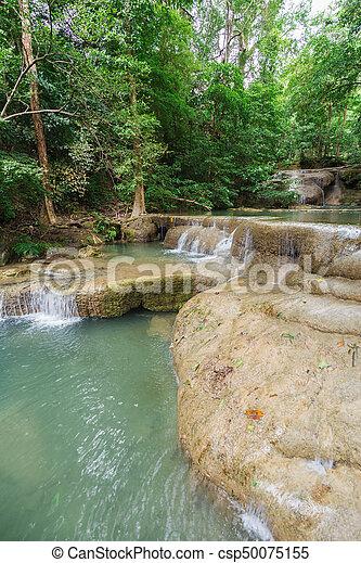 Level 1 of Erawan Waterfall in Kanchanaburi, Thailand - csp50075155