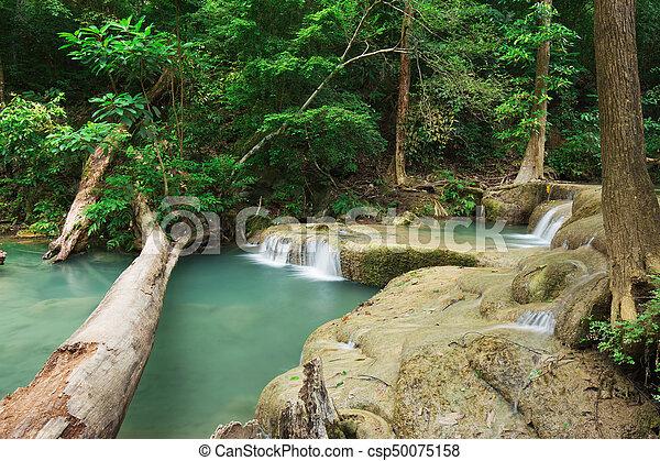 Level 1 of Erawan Waterfall in Kanchanaburi, Thailand - csp50075158