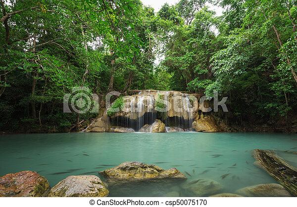 Level 2 of Erawan Waterfall in Kanchanaburi, Thailand - csp50075170