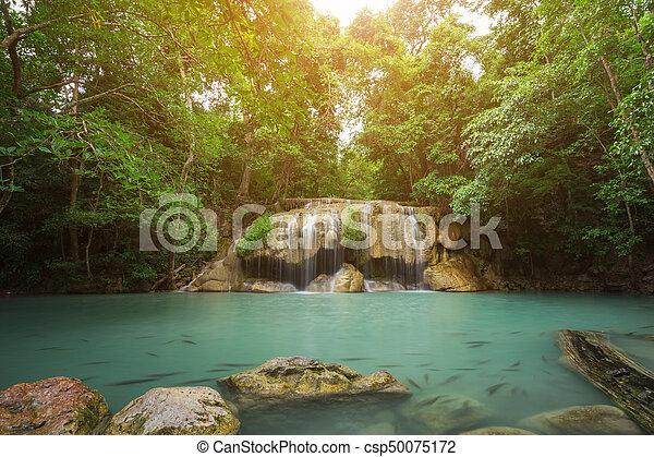 Level 2 of Erawan Waterfall in Kanchanaburi, Thailand - csp50075172