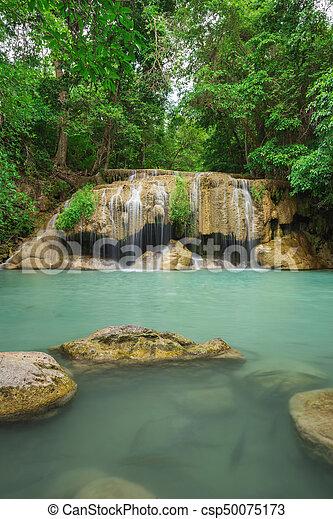 Level 2 of Erawan Waterfall in Kanchanaburi, Thailand - csp50075173