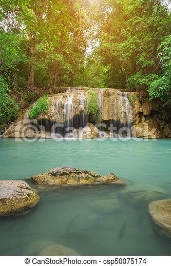 Level 2 of Erawan Waterfall in Kanchanaburi, Thailand - csp50075174