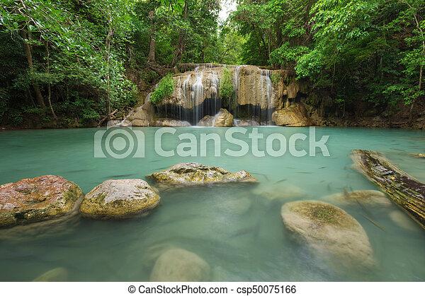 Level 2 of Erawan Waterfall in Kanchanaburi, Thailand - csp50075166