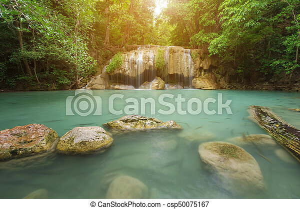 Level 2 of Erawan Waterfall in Kanchanaburi, Thailand - csp50075167
