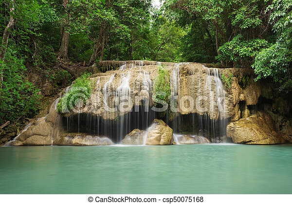 Level 2 of Erawan Waterfall in Kanchanaburi, Thailand - csp50075168