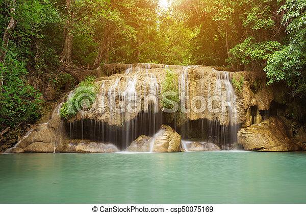 Level 2 of Erawan Waterfall in Kanchanaburi, Thailand - csp50075169