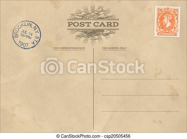 levelezőlap, szüret, vektor, sablon - csp20505456