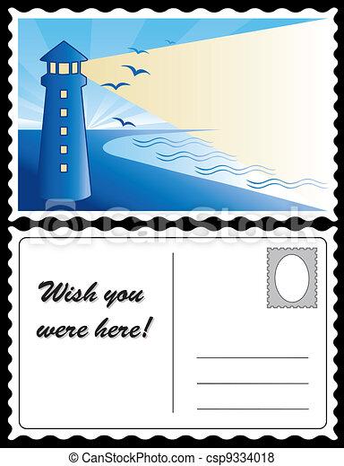 levelezőlap, világítótorony, hajnalodik, utazás - csp9334018