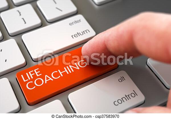 leven, keypad., hand, coachend, vinger, drukken - csp37583970