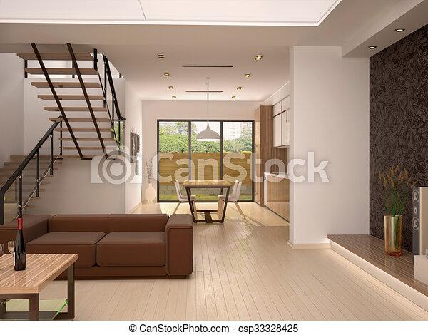 Levend goed kamer moderne illustratie kleuren warme interieur