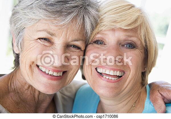 levend, het glimlachen, vrouwen, kamer, twee - csp1710086